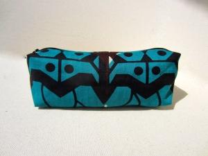 Trousse céwax wax motifs africains turquoise et marron - 12€